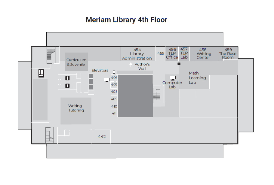 Map of Meriam Library 4th Floor