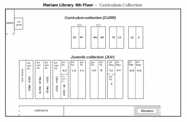 A map of the Curriculum Collection, Meriam Library, 4th Floor