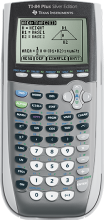 Photo of the TI 84 silver calculator