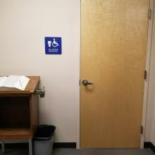 An all gender restroom sign