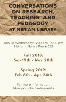 Flyer for Conversations at Meriam Library