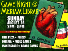 Flyer for Game Night at Meriam Library
