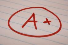 A+ grade on grid line paper